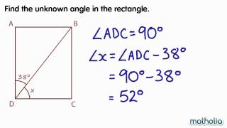 Finding Unknown Angles in a Rectangle