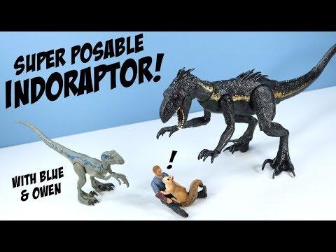 Jurassic World Fallen Kingdom Indoraptor and Velociraptor Blue and Owen Mattel