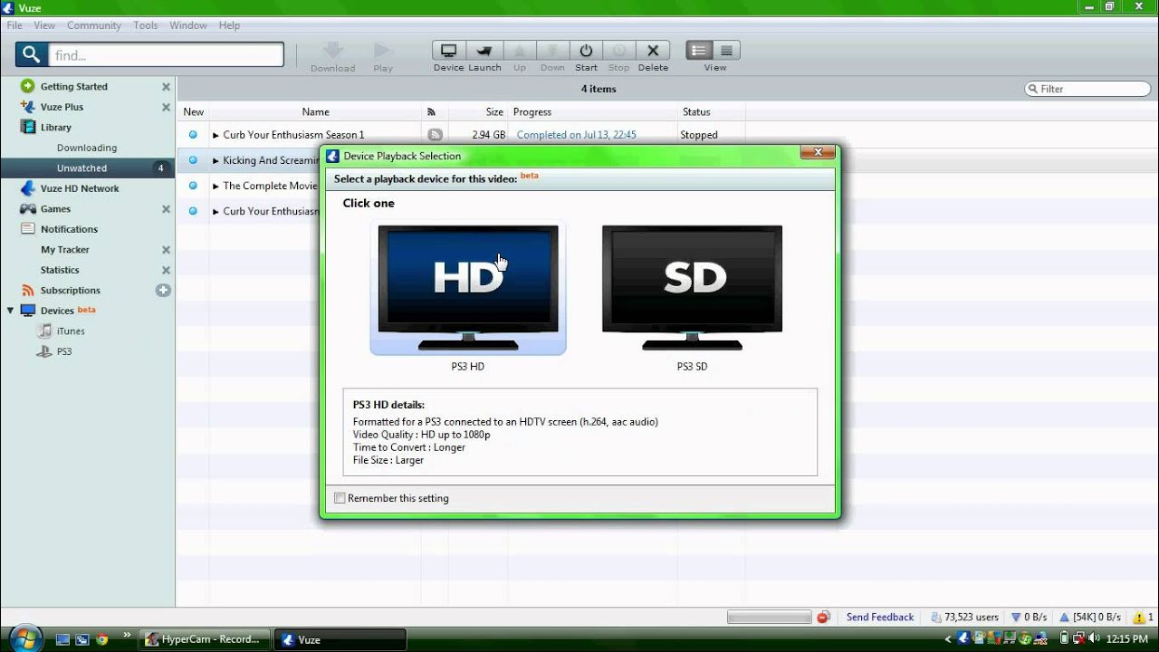 how to stream files from vuze to ps3