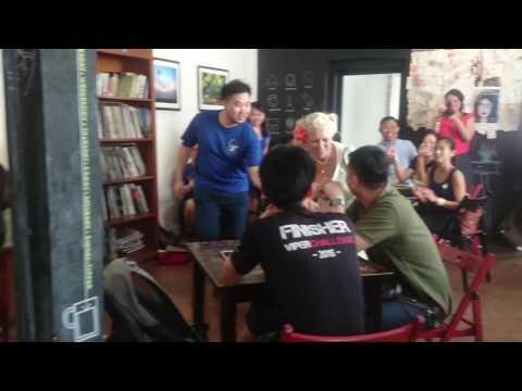Spontaneous swing dance at a cafe - Gunhild Carling in Kuala Lumpur