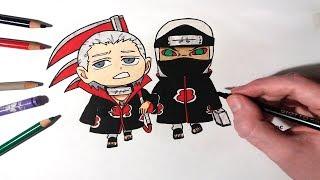 Speed Drawing Chibi Hidan And Kakuzu From Akatsuki - Naruto Shippuden