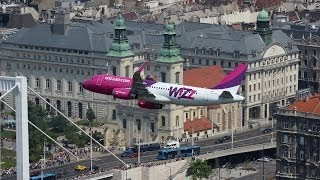 Wizzair Airbus A320 lowpass over the river Danube