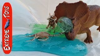 Dinosaur Toys trapped in Prehistoric Ooze! Dino Slime!
