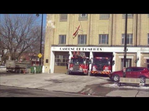 MONTREAL FIRE TRUCKS RESPONDING FROM STATION 23