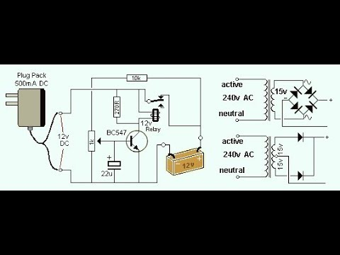 12 volt 30 amp relay diagram ion thruster 12v battery charger circuit with auto cut off - youtube