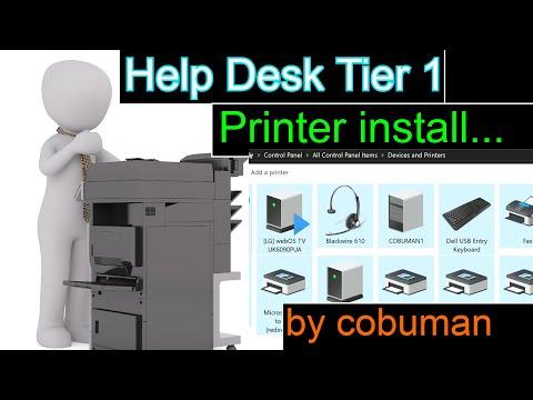 Help Desk Tier 1 Installing Printer for Customer, Trouble Ticket Training.
