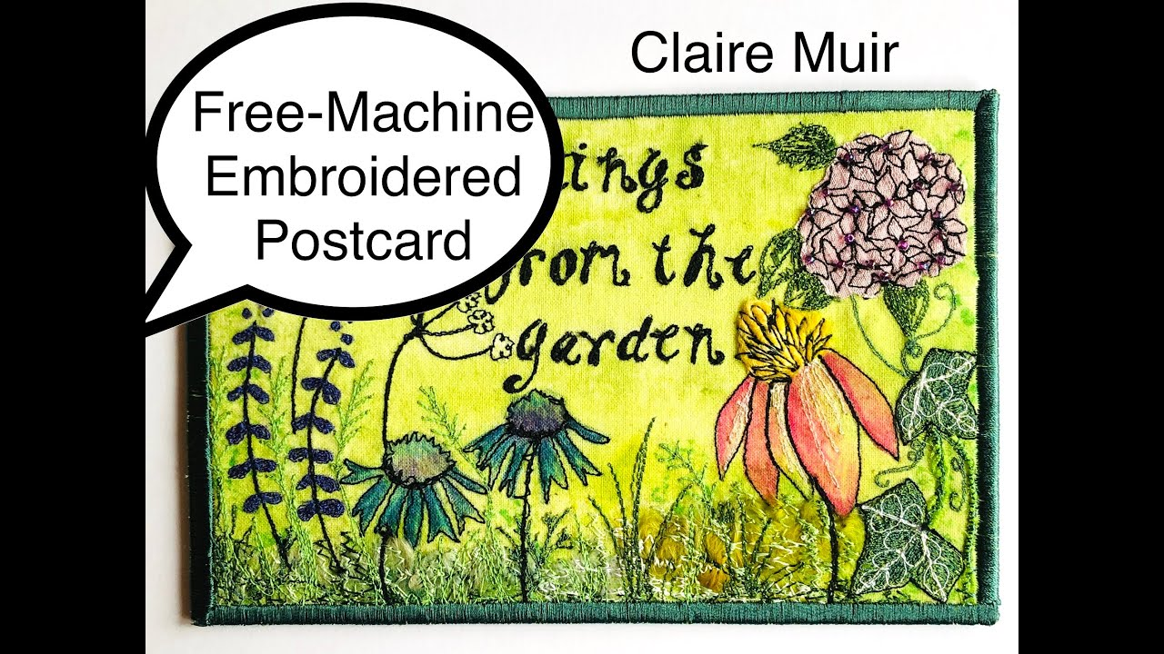 Free Machine Embroidered Postcard Project