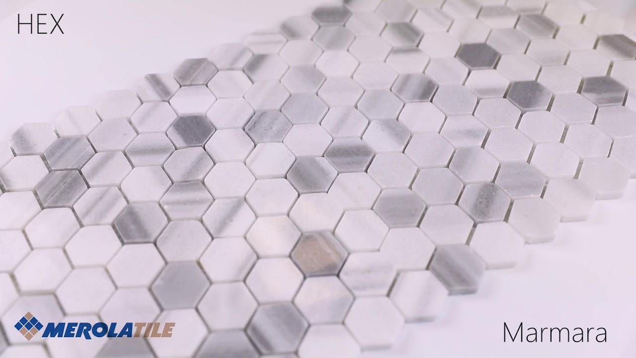 hex marble mosaic merola tile