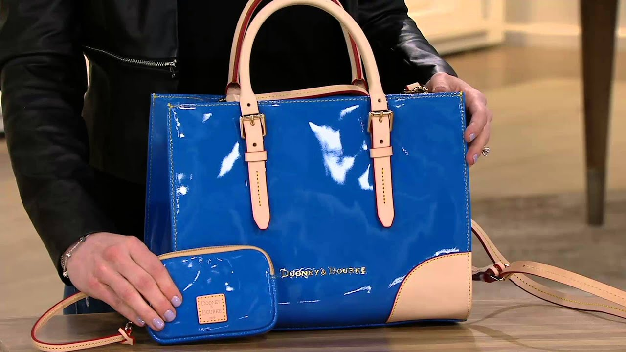Dooney Bourke Patent Leather Satchel With Accessories On Qvc