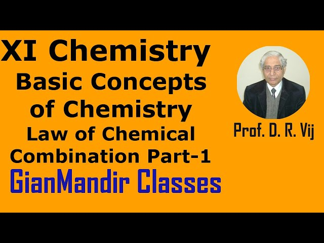 XI Chemistry - Basic Concepts of Chemistry - Law of Chemical Combination Part-1 by Ruchi Ma'am