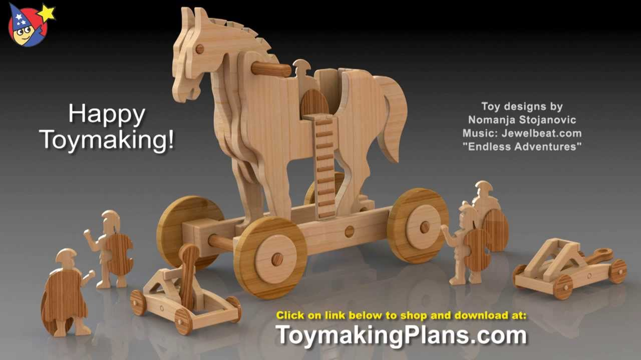 wood toy plans - ride-on trojan war horse and catapult