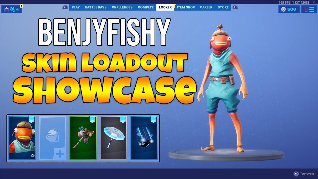 Benjyfishy Skin Loadout Showcase Fishstick Outfit Gameplay Fortnite Season 9 Youtube
