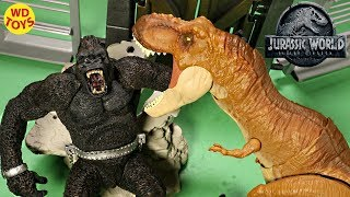 NEW Jurassic World Thrash N Throw Tyrannosaurus Rex Unboxing  Fallen Kingdom King Kong Vs  Mattel