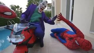 Spider-man & joker on bikes race challenge w/hulk (kids videos)