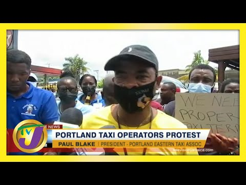 Taxi Operators Protest in Portland Jamaica   TVJ News - June 8 2021