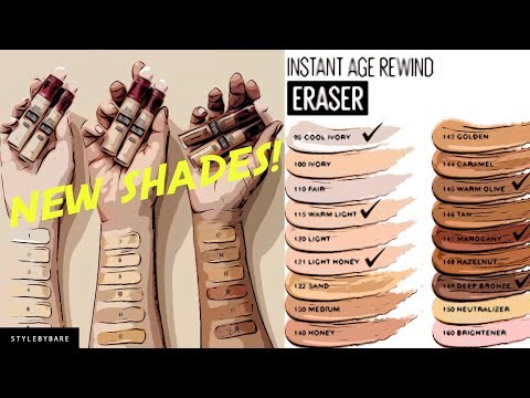 6 NEW SHADES! MAYBELLINE INSTANT AGE REWIND ERASER MULTI-USE CONCEALER SUMMER 2019 from YouTube · Duration:  10 minutes 21 seconds