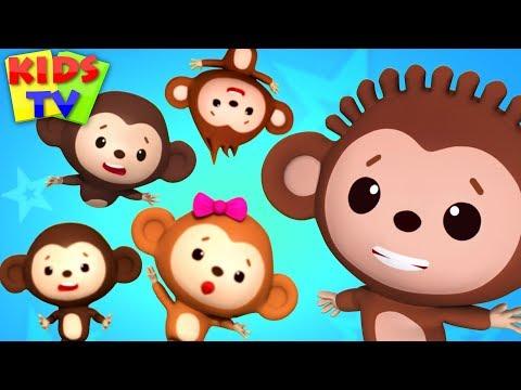 Five little Monkeys | Little Eddie Cartoon | Nursery Rhymes for Babies - Kids TV