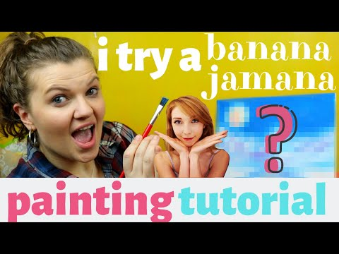 I TRY FOLLOWING A BANANA JAMANA YOUTUBE PAINTING TUTORIAL!! | First Time Painting!!