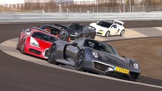Picking up two Porsche 918 Spyders by three Bugatti Veyrons with DutchBugs