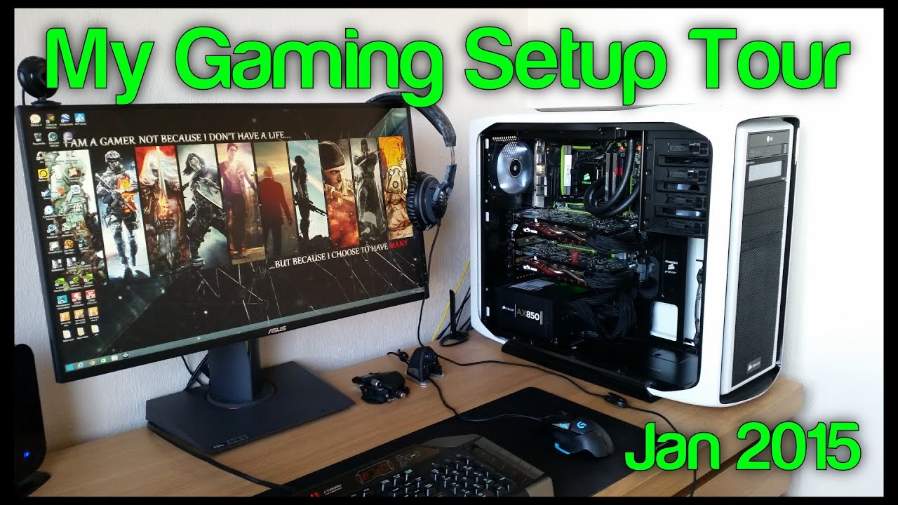 my gaming youtube setup tour 2015 600t pc build asus rog swift g sync msi gtx 970 sli youtube. Black Bedroom Furniture Sets. Home Design Ideas