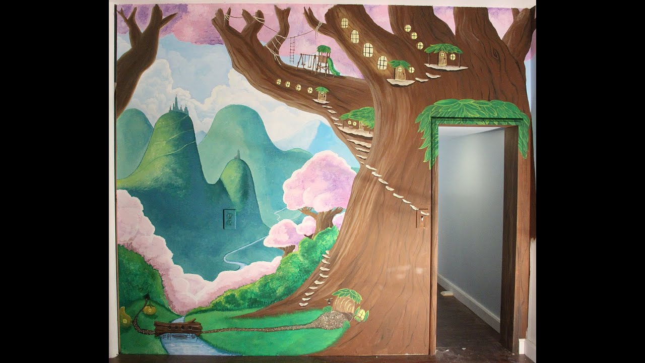 time lapse of painting an enchanted forest mural youtube