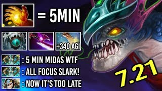 OMG 5 Min Hand of Midas Slark vs Counter Pick +340 Agi Cancer Gameplay by QO 7.21 Dota 2
