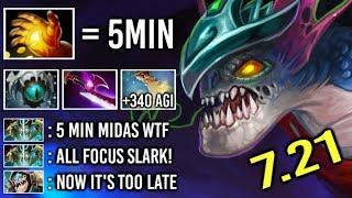 OMG 5 Min Hand of Midas Slark vs Counter Pick +340 Agi Cancer Gameplay by QO 7.21 Dota 2