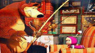 Маша и Медведь Рыбалка - собираем пазлы для детей с героями мультика Маша и Медведь
