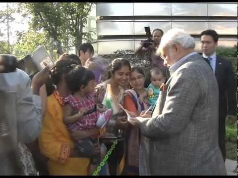 PM Modi interacting with Indian community at Hyundai Heavy Industries Shipyard in Ulsan
