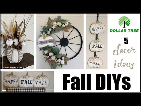 DIY DOLLAR TREE FALL Decor 2019 | Farmhouse Autumn Dollar Tree Decor Ideas | Momma From Scratch