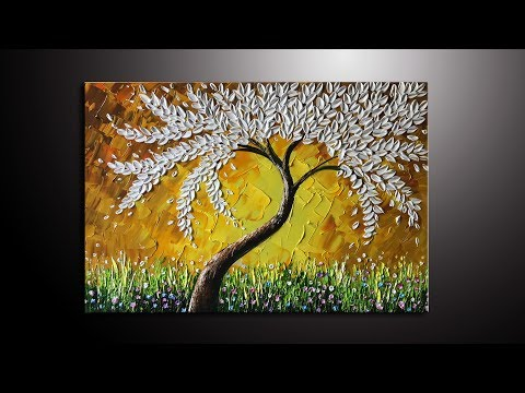 Paint a white leaves tree thick palette knife in Acrylic