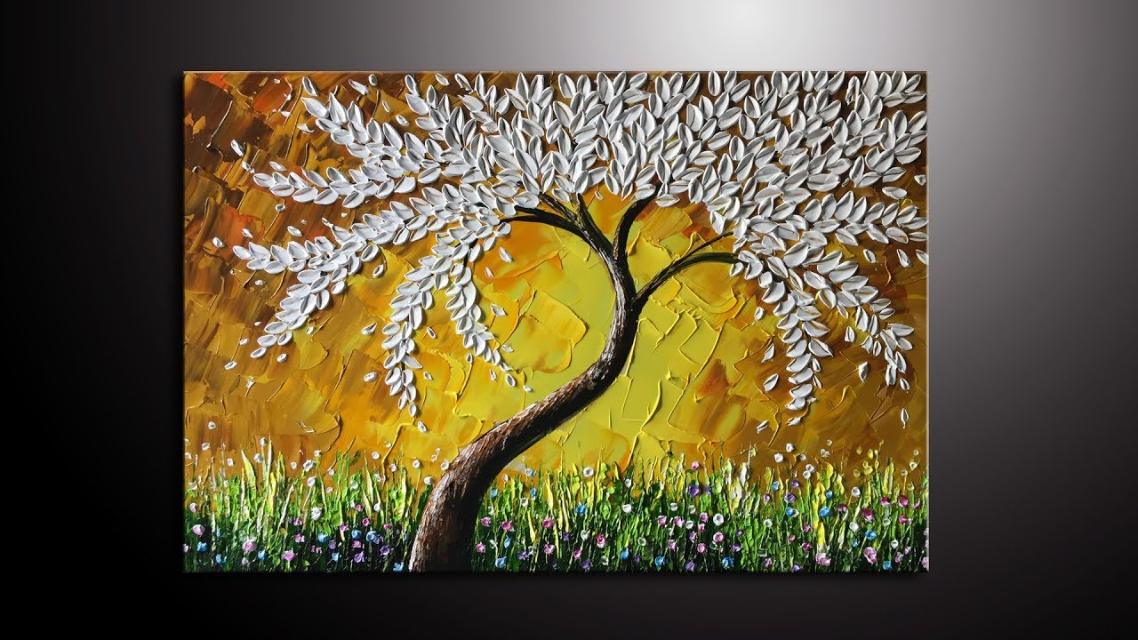 Paint a white leaves tree thick palette knife in Acrylic - YouTube