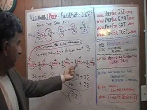 Basic Algebra Day 27 - Online Prep Tutor 40$/hr GRE, GMAT, SAT, ACT, TEAS, HESI, KeshwaniPrep.com