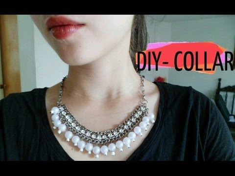 DIY, Collar cadena con perlas y cuentas de cristal /Necklace chain