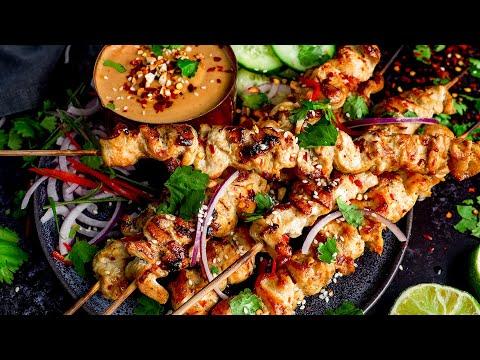 Easy Chicken Satay + Homemade Satay Sauce