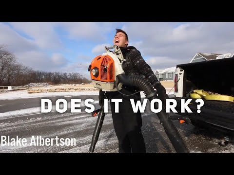 Using 2 Backpack Blowers For Snow Removal!