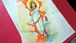 How to Draw Dussehra Navratri Goddess Durga Brahmacharini Drawing Step by Step for Kids