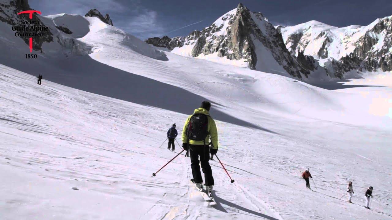 Discesa in sci della valleè blanche - courmayeur monte bianco