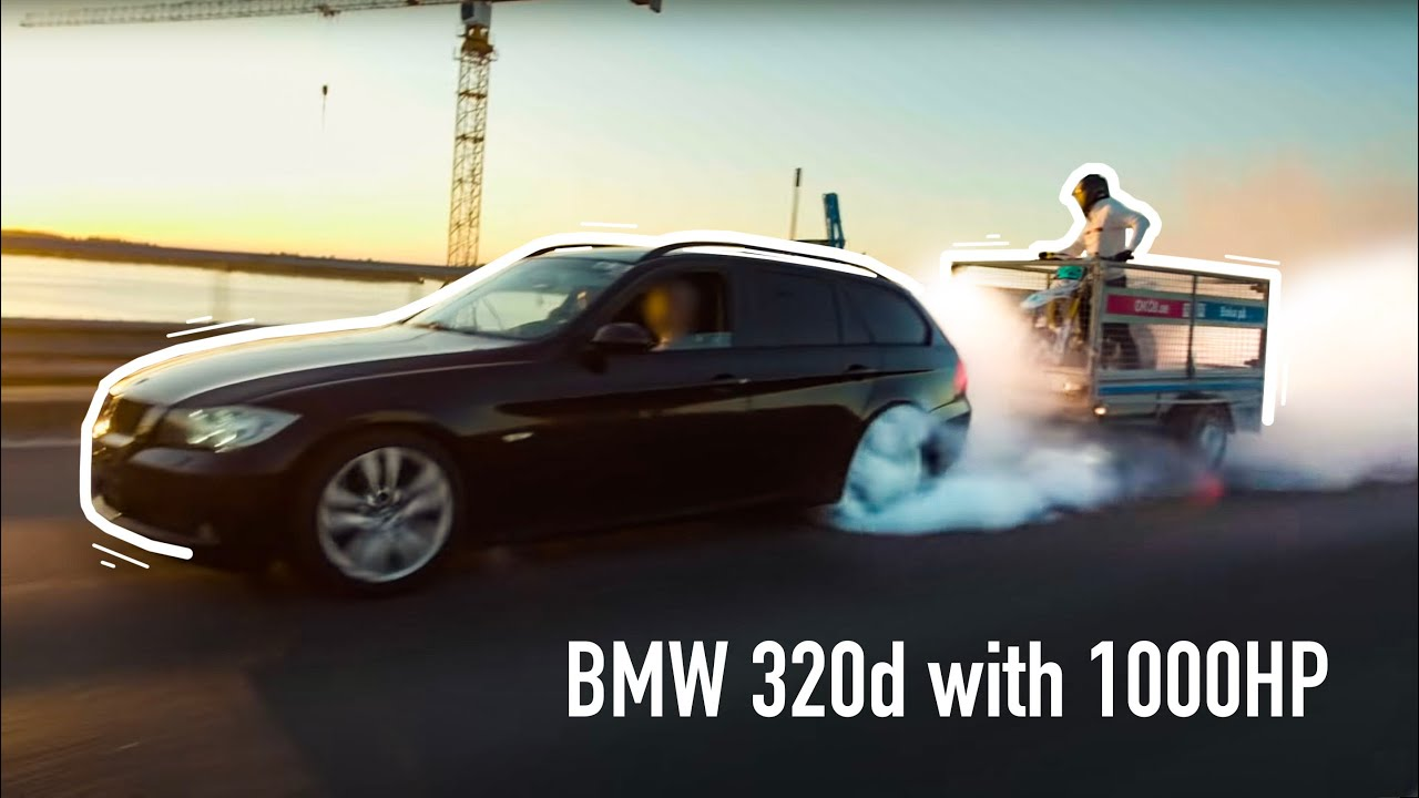1000hp BMW 320d burnout while BIKE BURNOUT on trailer YES?