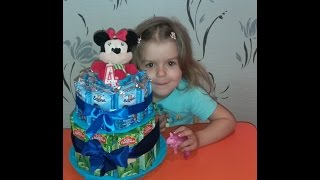 Делаем торт на день рождения из соков и барни в детский сад!!!