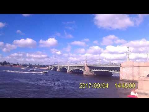 Saint Petersburg. Russia. Neva River. Troitskiy bridge. Peter and Paul Fortress. September 2017.