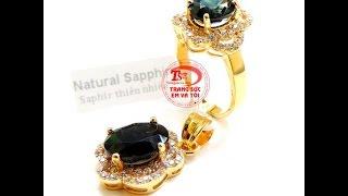 Bộ nữ trang Vàng Sapphire, bộ mặt dây nữ đẹp , bộ mặt dây chuyền đẹp, TSVN015697