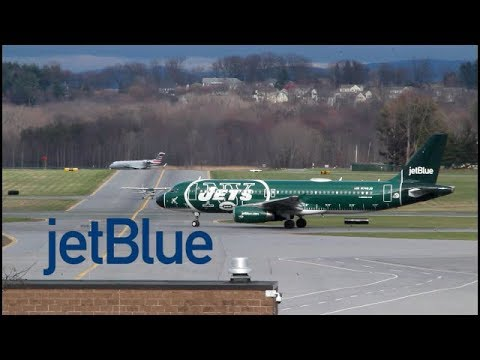 JetBlue a320 NY JETS LIVERY FULL taxi and takeoff from albany airport