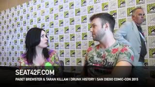 Paget Brewster & Taran Killam DRUNK HISTORY Comic Con 2015 Interview
