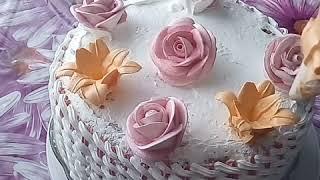 Украшение торта.Торт *Корзина с цветами*