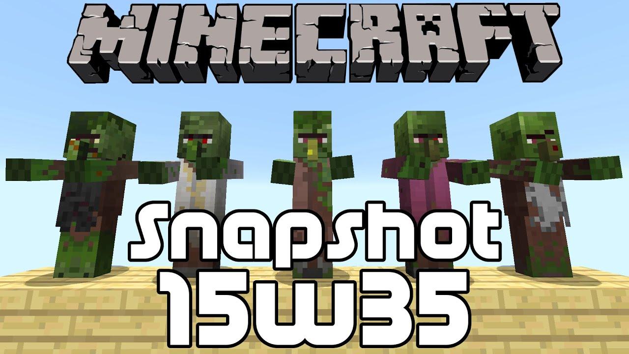 Minecraft Snapshot 15w35b New Zombie Villager Skins Youtube