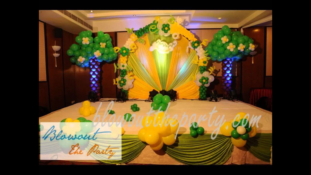 Birthday party decorations in hyderabad youtube for 1st birthday hall decoration