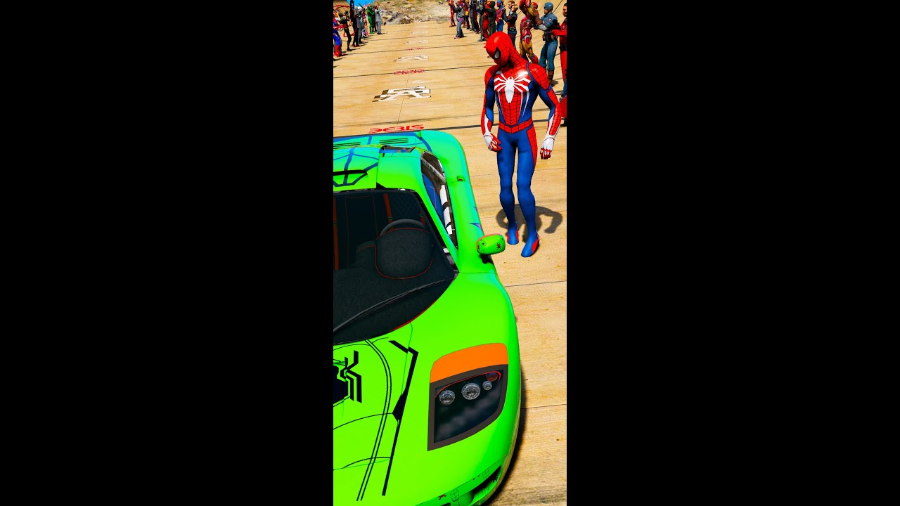 SpiderMan SP4 jumping Ramps Spider Car GTA V Superheroes mods #short