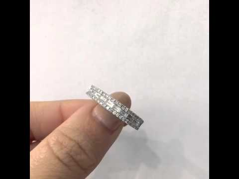 Baguettes and round diamond wedding bands