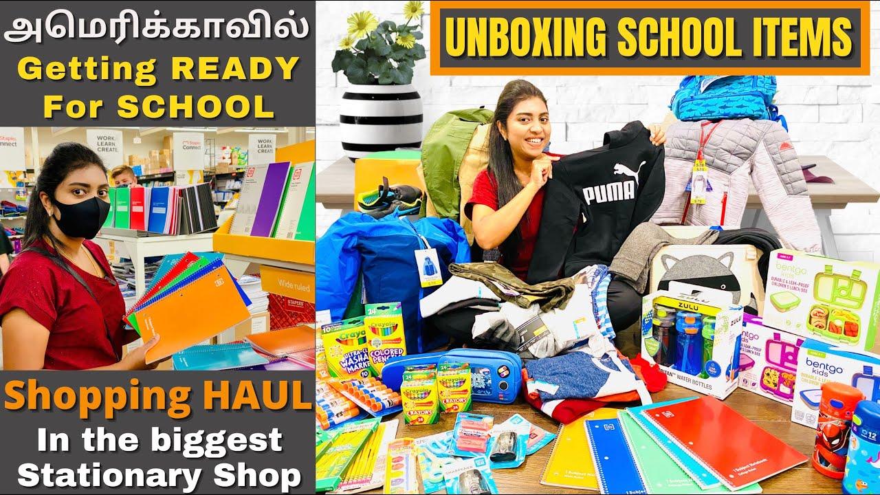 அமெரிக்காவில் School Open பண்றாங்க After Pandemic | School Shopping Haul & Unboxing | USA Tamil VLOG